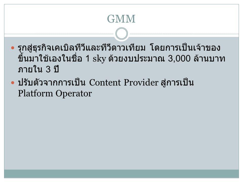 GMM รุกสู่ธุรกิจเคเบิลทีวีและทีวีดาวเทียม โดยการเป็นเจ้าของ ขึ้นมาใช้เองในชื่อ 1 sky ด้วยงบประมาณ 3,000 ล้านบาท ภายใน 3 ปี ปรับตัวจากการเป็น Content Provider สู่การเป็น Platform Operator