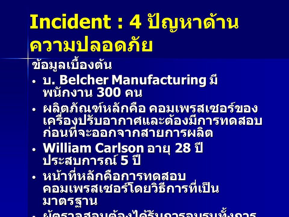 Incident : 4 Incident : 4 ปัญหาด้าน ความปลอดภัย ข้อมูลเบื้องต้น บ.
