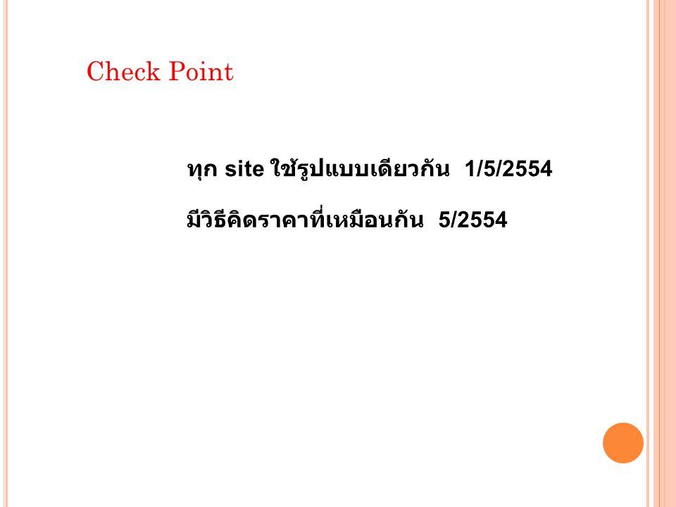 Check Point ทุก site ใช้รูปแบบเดียวกัน 1/5/2554 มีวิธีคิดราคาที่เหมือนกัน 5/2554
