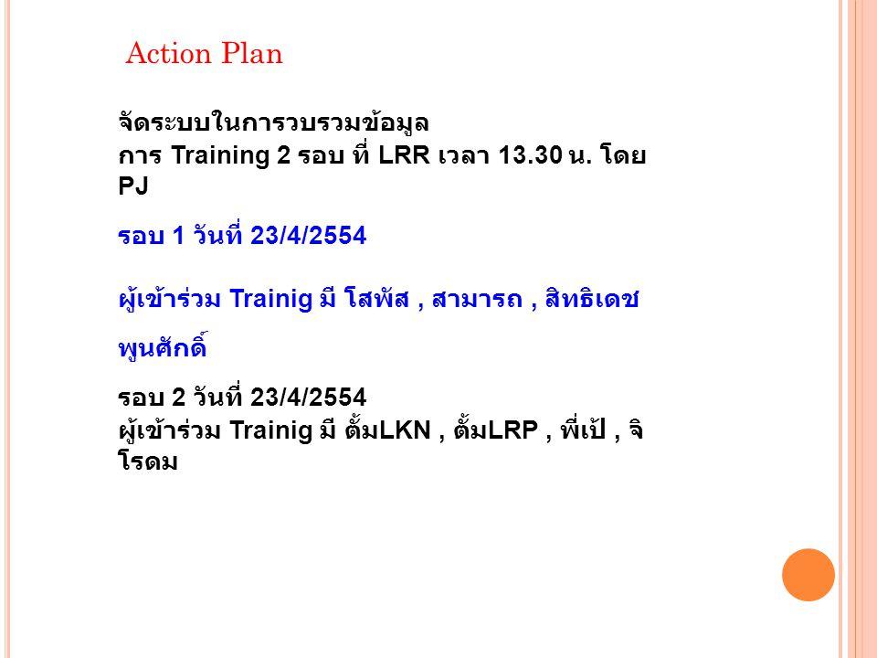 Action Plan จัดระบบในการวบรวมข้อมูล การ Training 2 รอบ ที่ LRR เวลา 13.30 น.
