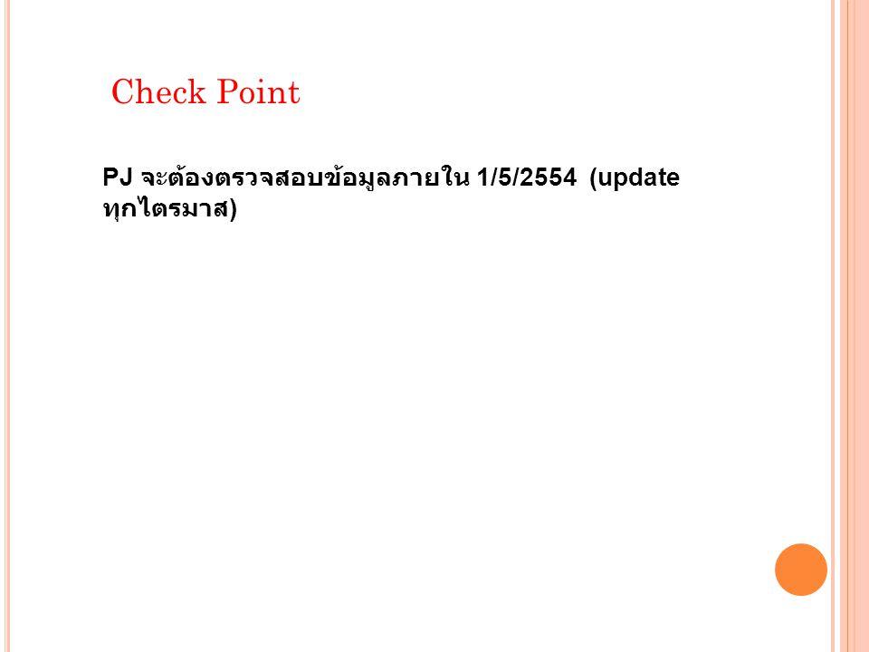 Check Point PJ จะต้องตรวจสอบข้อมูลภายใน 1/5/2554 (update ทุกไตรมาส )