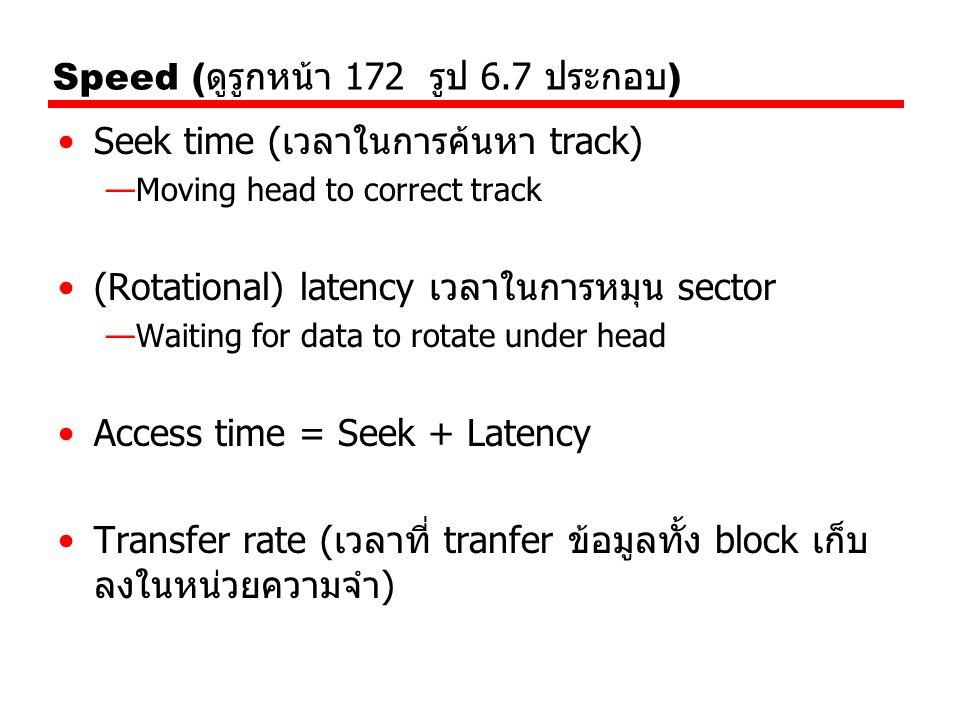 Speed ( ดูรูกหน้า 172 รูป 6.7 ประกอบ ) Seek time (เวลาในการค้นหา track) —Moving head to correct track (Rotational) latency เวลาในการหมุน sector —Waiti