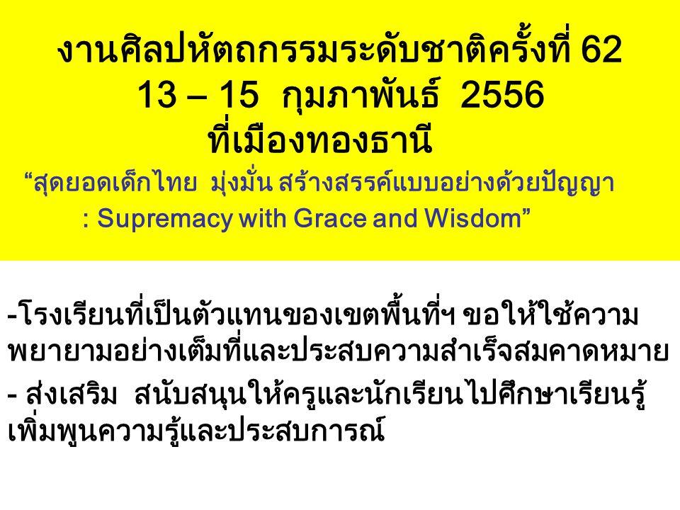 """งานศิลปหัตถกรรมระดับชาติครั้งที่ 62 13 – 15 กุมภาพันธ์ 2556 ที่เมืองทองธานี """"สุดยอดเด็กไทย มุ่งมั่น สร้างสรรค์แบบอย่างด้วยปัญญา : Supremacy with Grace"""