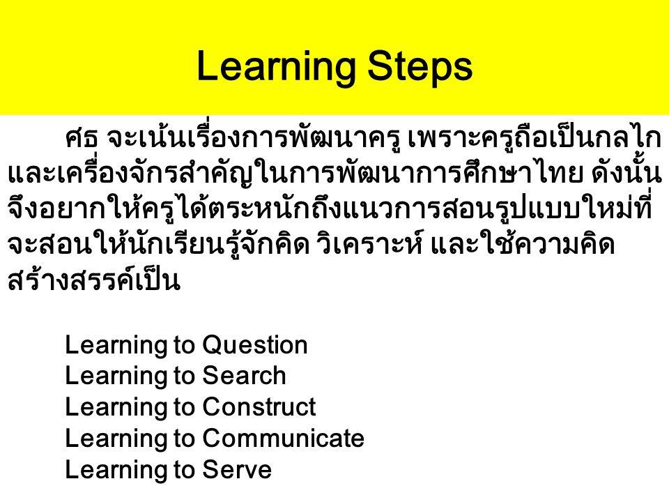 Learning Steps ศธ จะเน้นเรื่องการพัฒนาครู เพราะครูถือเป็นกลไก และเครื่องจักรสำคัญในการพัฒนาการศึกษาไทย ดังนั้น จึงอยากให้ครูได้ตระหนักถึงแนวการสอนรูปแ