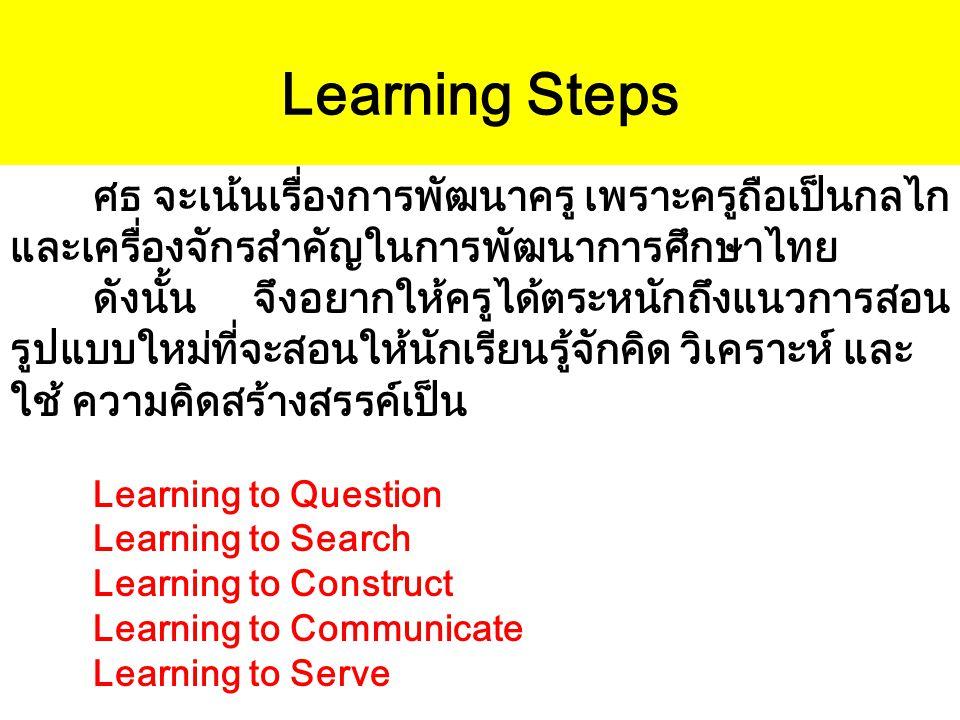Learning Steps ศธ จะเน้นเรื่องการพัฒนาครู เพราะครูถือเป็นกลไก และเครื่องจักรสำคัญในการพัฒนาการศึกษาไทย ดังนั้น จึงอยากให้ครูได้ตระหนักถึงแนวการสอน รูป