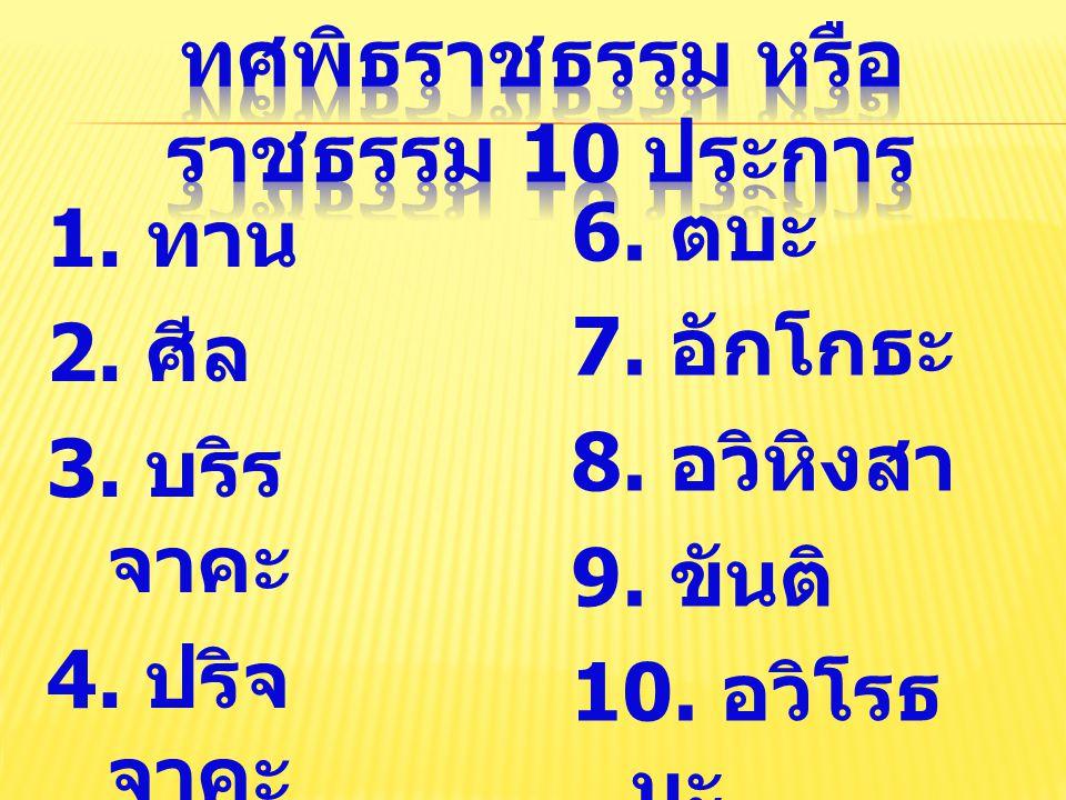 1. ทาน 2. ศีล 3. บริร จาคะ 4. ปริจ จาคะ 5. มัททวะ 6. ตบะ 7. อักโกธะ 8. อวิหิงสา 9. ขันติ 10. อวิโรธ นะ