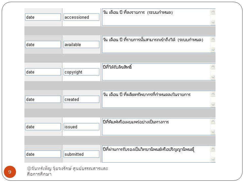 ตัวอย่าง Date @ จันทร์เพ็ญ จุ้ยจงรักษ์ ศูนย์บรรณสารและ สื่อการศึกษา 9