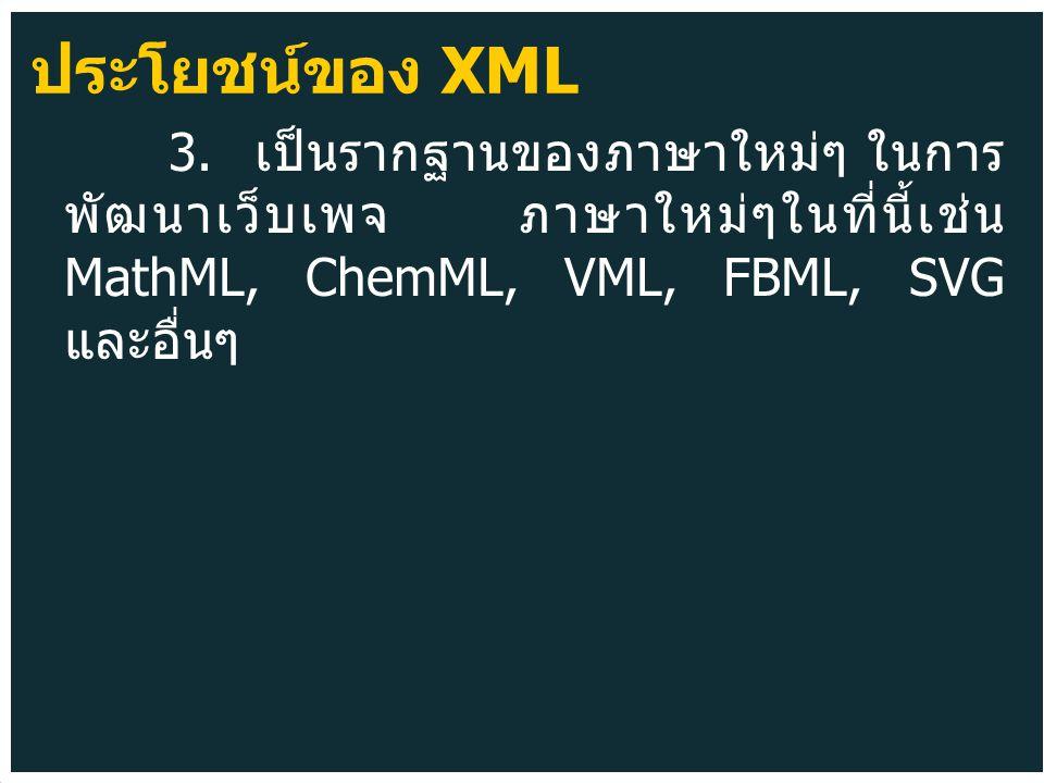 3. เป็นรากฐานของภาษาใหม่ๆ ในการ พัฒนาเว็บเพจ ภาษาใหม่ๆในที่นี้เช่น MathML, ChemML, VML, FBML, SVG และอื่นๆ ประโยชน์ของ XML
