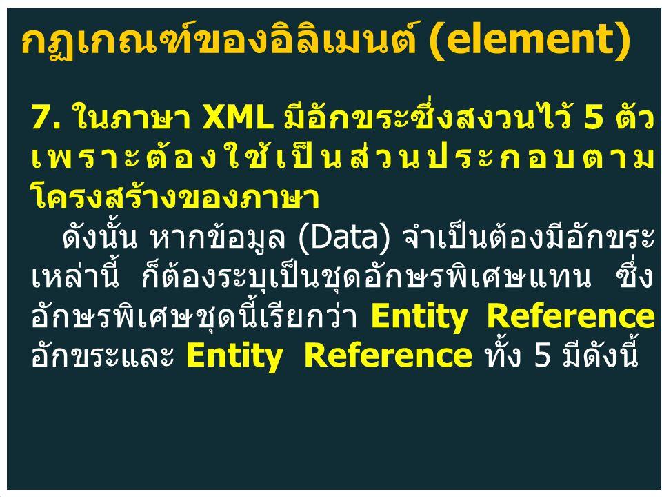 7. ในภาษา XML มีอักขระซึ่งสงวนไว้ 5 ตัว เพราะต้องใช้เป็นส่วนประกอบตาม โครงสร้างของภาษา ดังนั้น หากข้อมูล (Data) จำเป็นต้องมีอักขระ เหล่านี้ ก็ต้องระบุ