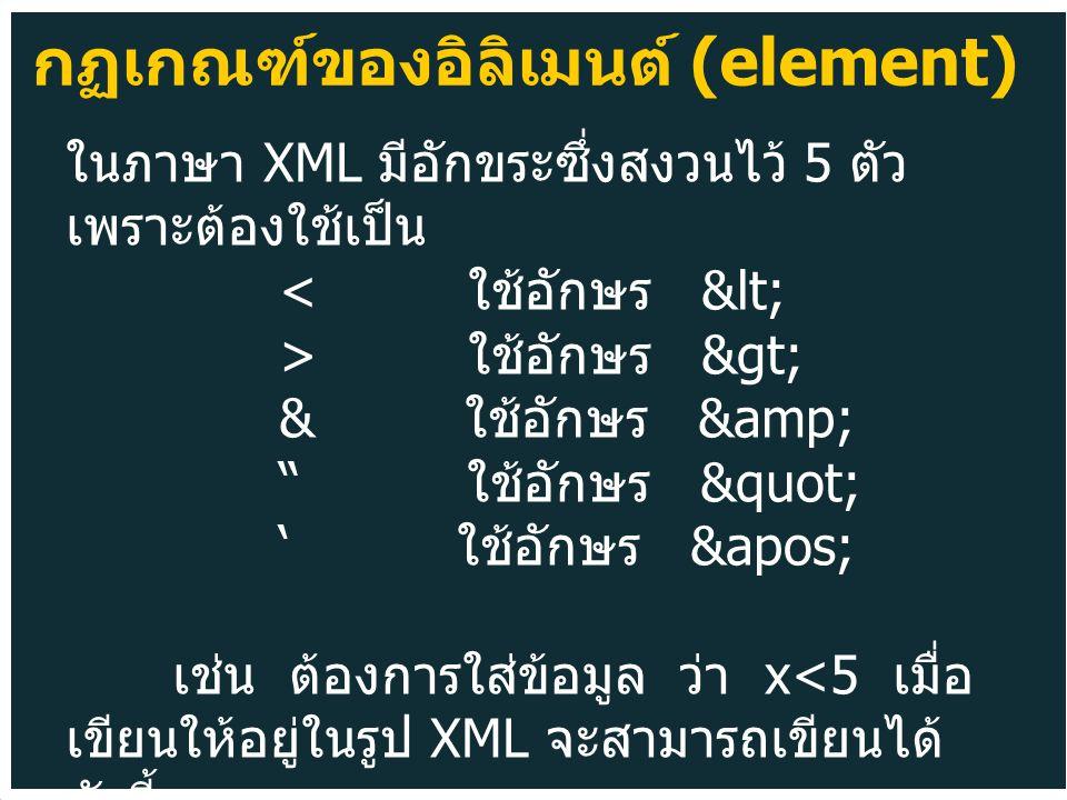 ในภาษา XML มีอักขระซึ่งสงวนไว้ 5 ตัว เพราะต้องใช้เป็น ใช้อักษร > & ใช้อักษร & ใช้อักษร ' ใช้อักษร &apos; เช่น ต้องการใส่ข้อมูล ว่า x x<5 กฏเกณฑ์ของอิลิเมนต์ (element)