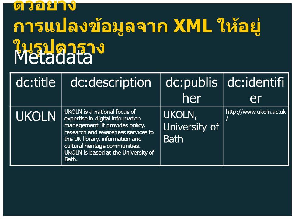 ตัวอย่าง การแปลงข้อมูลจาก XML ให้อยู่ ในรูปตาราง dc:titledc:descriptiondc:publis her dc:identifi er UKOLN UKOLN is a national focus of expertise in digital information management.