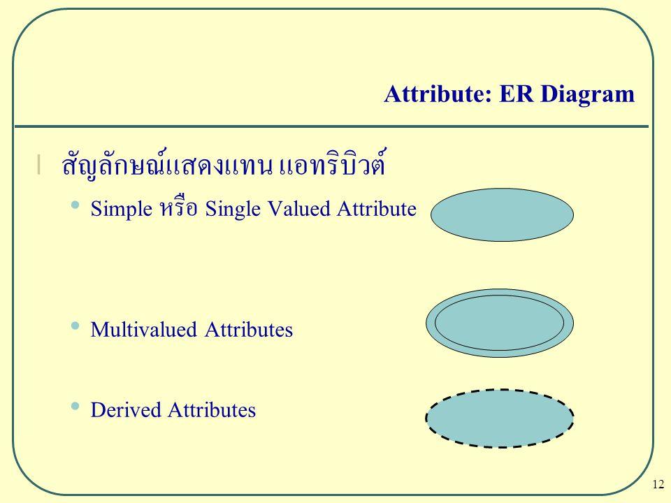 12 Attribute: ER Diagram l สัญลักษณ์แสดงแทน แอทริบิวต์ Simple หรือ Single Valued Attribute Multivalued Attributes Derived Attributes