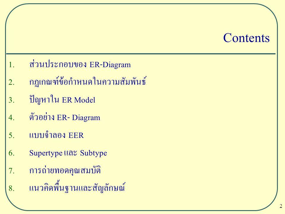 2 Contents 1. ส่วนประกอบของ ER-Diagram 2. กฏเกณฑ์ข้อกำหนดในความสัมพันธ์ 3. ปัญหาใน ER Model 4. ตัวอย่าง ER- Diagram 5. แบบจำลอง EER 6. Supertype และ S