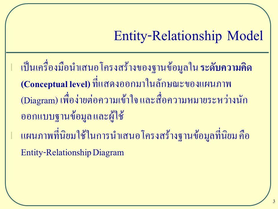 3 Entity-Relationship Model l เป็นเครื่องมือนำเสนอโครงสร้างของฐานข้อมูลใน ระดับความคิด (Conceptual level) ที่แสดงออกมาในลักษณะของแผนภาพ (Diagram) เพื่