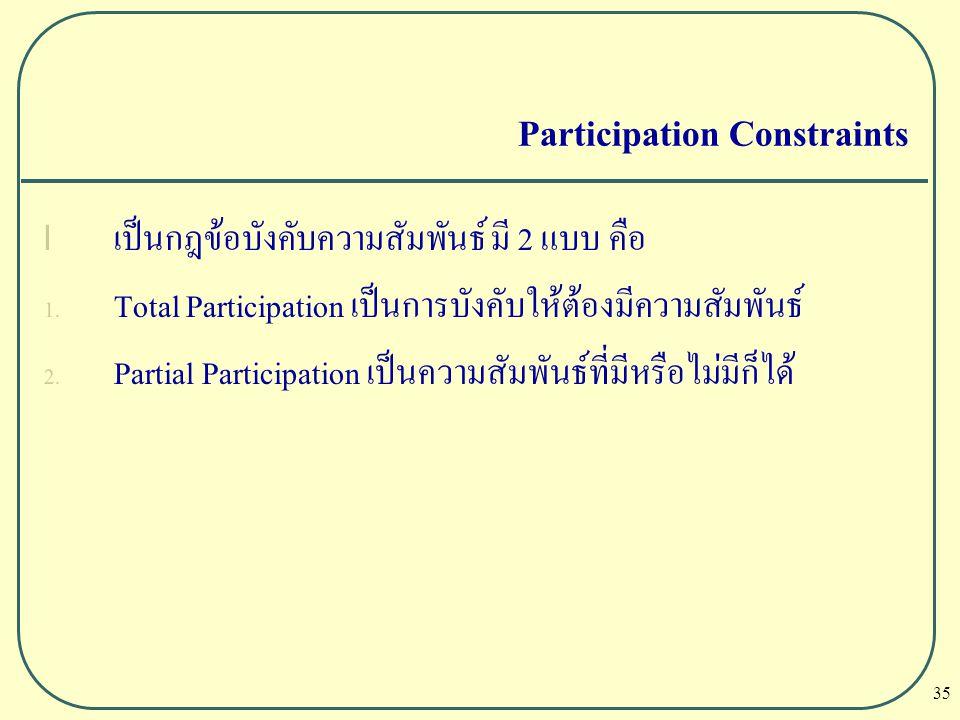 35 Participation Constraints l เป็นกฎข้อบังคับความสัมพันธ์ มี 2 แบบ คือ 1. Total Participation เป็นการบังคับให้ต้องมีความสัมพันธ์ 2. Partial Participa