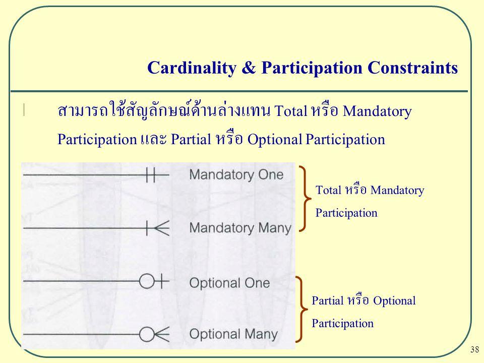 38 Cardinality & Participation Constraints l สามารถใช้สัญลักษณ์ด้านล่างแทน Total หรือ Mandatory Participation และ Partial หรือ Optional Participation