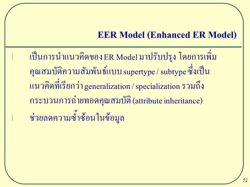 52 EER Model (Enhanced ER Model) l เป็นการนำแนวคิดของ ER Model มาปรับปรุง โดยการเพิ่ม คุณสมบัติความสัมพันธ์แบบ supertype / subtype ซึ่งเป็น แนวคิดที่เ