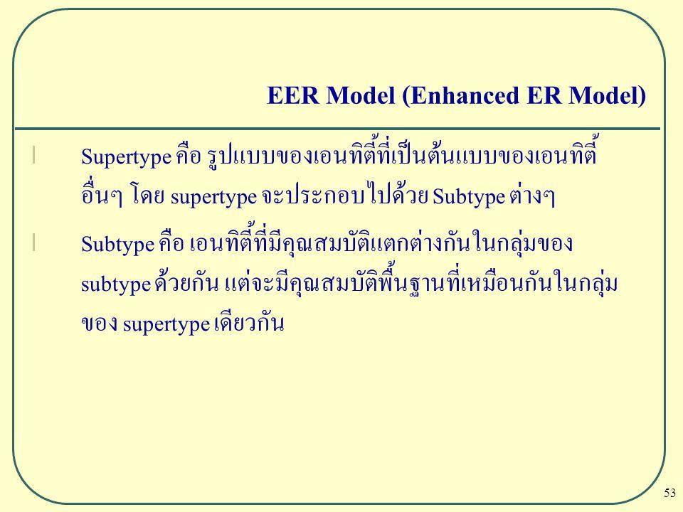 53 EER Model (Enhanced ER Model) l Supertype คือ รูปแบบของเอนทิตี้ที่เป็นต้นแบบของเอนทิตี้ อื่นๆ โดย supertype จะประกอบไปด้วย Subtype ต่างๆ l Subtype