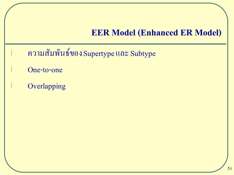 54 EER Model (Enhanced ER Model) l ความสัมพันธ์ของ Supertype และ Subtype l One-to-one l Overlapping