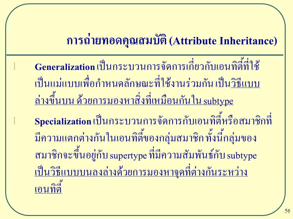 56 การถ่ายทอดคุณสมบัติ (Attribute Inheritance) l Generalization เป็นกระบวนการจัดการเกี่ยวกับเอนทิตี้ที่ใช้ เป็นแม่แบบเพื่อกำหนดลักษณะที่ใช้งานร่วมกัน
