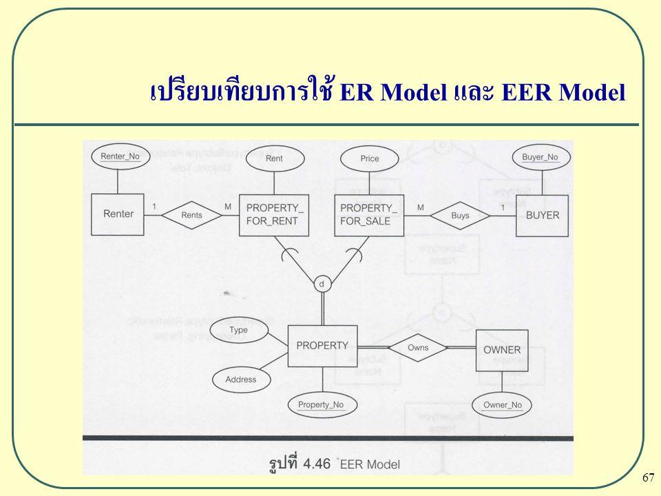 67 เปรียบเทียบการใช้ ER Model และ EER Model