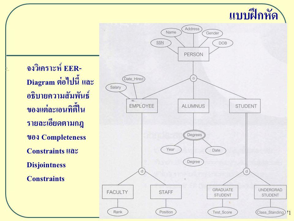 71 แบบฝึกหัด 2. จงวิเคราะห์ EER- Diagram ต่อไปนี้ และ อธิบายความสัมพันธ์ ของแต่ละเอนทิตี้ใน รายละเอียดตามกฎ ของ Completeness Constraints และ Disjointn