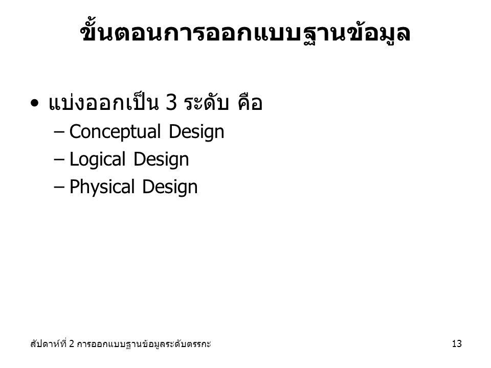 สัปดาห์ที่ 2 การออกแบบฐานข้อมูลระดับตรรกะ13 ขั้นตอนการออกแบบฐานข้อมูล แบ่งออกเป็น 3 ระดับ คือ –Conceptual Design –Logical Design –Physical Design