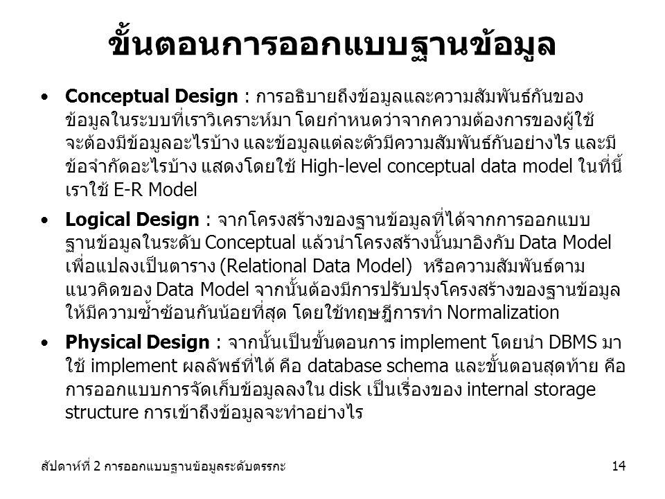 สัปดาห์ที่ 2 การออกแบบฐานข้อมูลระดับตรรกะ14 ขั้นตอนการออกแบบฐานข้อมูล Conceptual Design : การอธิบายถึงข้อมูลและความสัมพันธ์กันของ ข้อมูลในระบบที่เราวิเคราะห์มา โดยกำหนดว่าจากความต้องการของผู้ใช้ จะต้องมีข้อมูลอะไรบ้าง และข้อมูลแต่ละตัวมีความสัมพันธ์กันอย่างไร และมี ข้อจำกัดอะไรบ้าง แสดงโดยใช้ High-level conceptual data model ในที่นี้ เราใช้ E-R Model Logical Design : จากโครงสร้างของฐานข้อมูลที่ได้จากการออกแบบ ฐานข้อมูลในระดับ Conceptual แล้วนำโครงสร้างนั้นมาอิงกับ Data Model เพื่อแปลงเป็นตาราง (Relational Data Model) หรือความสัมพันธ์ตาม แนวคิดของ Data Model จากนั้นต้องมีการปรับปรุงโครงสร้างของฐานข้อมูล ให้มีความซ้ำซ้อนกันน้อยที่สุด โดยใช้ทฤษฎีการทำ Normalization Physical Design : จากนั้นเป็นขั้นตอนการ implement โดยนำ DBMS มา ใช้ implement ผลลัพธ์ที่ได้ คือ database schema และขั้นตอนสุดท้าย คือ การออกแบบการจัดเก็บข้อมูลลงใน disk เป็นเรื่องของ internal storage structure การเข้าถึงข้อมูลจะทำอย่างไร