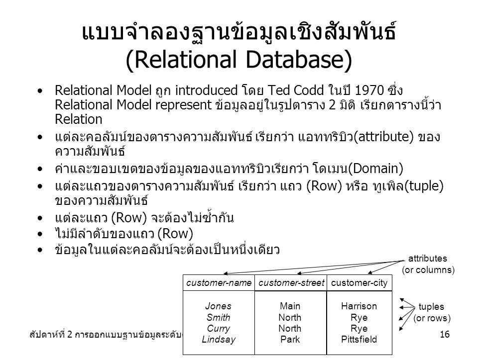 สัปดาห์ที่ 2 การออกแบบฐานข้อมูลระดับตรรกะ16 แบบจำลองฐานข้อมูลเชิงสัมพันธ์ (Relational Database) Relational Model ถูก introduced โดย Ted Codd ในปี 1970 ซึ่ง Relational Model represent ข้อมูลอยู่ในรูปตาราง 2 มิติ เรียกตารางนี้ว่า Relation แต่ละคอลัมน์ของตารางความสัมพันธ์ เรียกว่า แอททริบิว(attribute) ของ ความสัมพันธ์ ค่าและขอบเขตของข้อมูลของแอททริบิวเรียกว่า โดเมน(Domain) แต่ละแถวของตารางความสัมพันธ์ เรียกว่า แถว (Row) หรือ ทูเพิล(tuple) ของความสัมพันธ์ แต่ละแถว (Row) จะต้องไม่ซ้ำกัน ไม่มีลำดับของแถว (Row) ข้อมูลในแต่ละคอลัมน์จะต้องเป็นหนึ่งเดียว customer-name Main North Park customer-street Harrison Rye Pittsfield customer-city attributes (or columns) tuples (or rows) Jones Smith Curry Lindsay