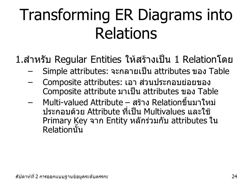 สัปดาห์ที่ 2 การออกแบบฐานข้อมูลระดับตรรกะ24 Transforming ER Diagrams into Relations 1.สำหรับ Regular Entities ให้สร้างเป็น 1 Relationโดย –Simple attributes: จะกลายเป็น attributes ของ Table –Composite attributes: เอา ส่วนประกอบย่อยของ Composite attribute มาเป็น attributes ของ Table –Multi-valued Attribute – สร้าง Relationขึ้นมาใหม่ ประกอบด้วย Attribute ที่เป็น Multivalues และใช้ Primary Key จาก Entity หลักร่วมกับ attributes ใน Relationนั้น