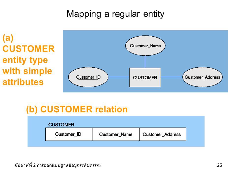 สัปดาห์ที่ 2 การออกแบบฐานข้อมูลระดับตรรกะ25 (a) CUSTOMER entity type with simple attributes Mapping a regular entity (b) CUSTOMER relation