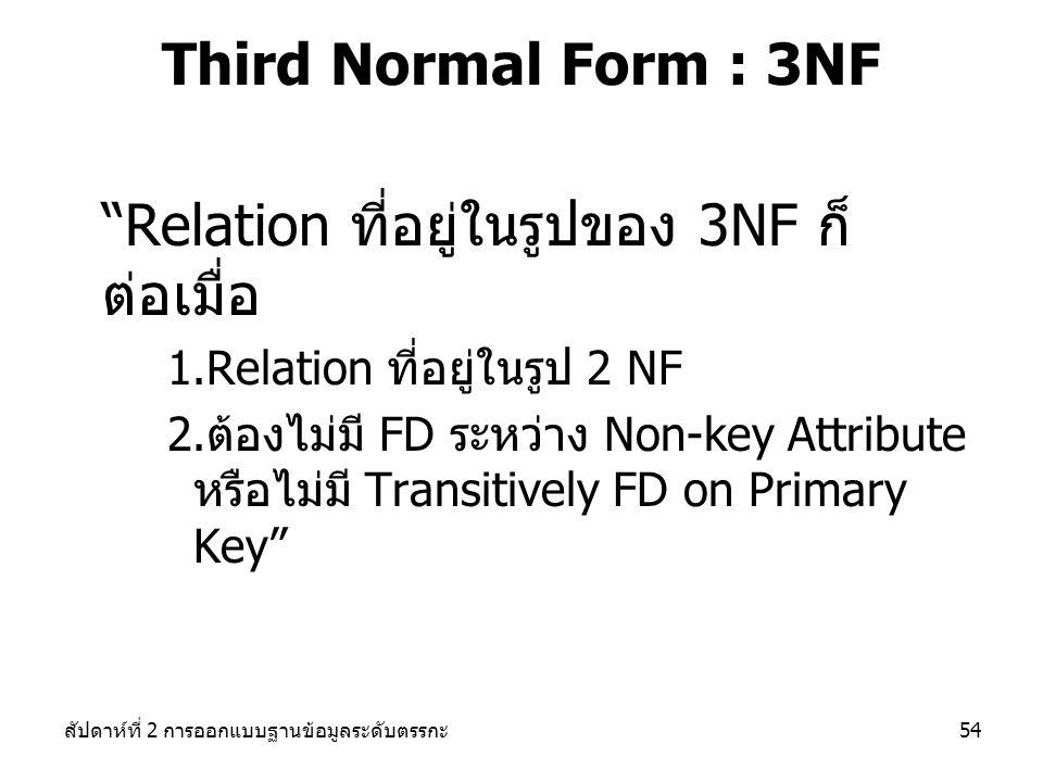 สัปดาห์ที่ 2 การออกแบบฐานข้อมูลระดับตรรกะ54 Third Normal Form : 3NF Relation ที่อยู่ในรูปของ 3NF ก็ ต่อเมื่อ 1.Relation ที่อยู่ในรูป 2 NF 2.ต้องไม่มี FD ระหว่าง Non-key Attribute หรือไม่มี Transitively FD on Primary Key