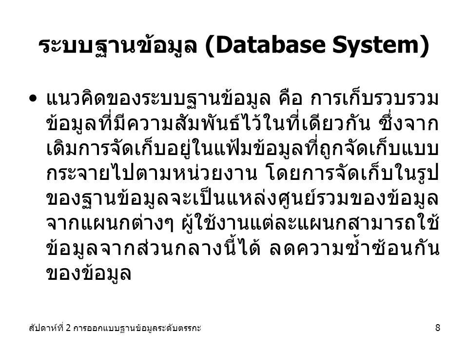สัปดาห์ที่ 2 การออกแบบฐานข้อมูลระดับตรรกะ8 ระบบฐานข้อมูล (Database System) แนวคิดของระบบฐานข้อมูล คือ การเก็บรวบรวม ข้อมูลที่มีความสัมพันธ์ไว้ในที่เดียวกัน ซึ่งจาก เดิมการจัดเก็บอยู่ในแฟ้มข้อมูลที่ถูกจัดเก็บแบบ กระจายไปตามหน่วยงาน โดยการจัดเก็บในรูป ของฐานข้อมูลจะเป็นแหล่งศูนย์รวมของข้อมูล จากแผนกต่างๆ ผู้ใช้งานแต่ละแผนกสามารถใช้ ข้อมูลจากส่วนกลางนี้ได้ ลดความซ้ำซ้อนกัน ของข้อมูล