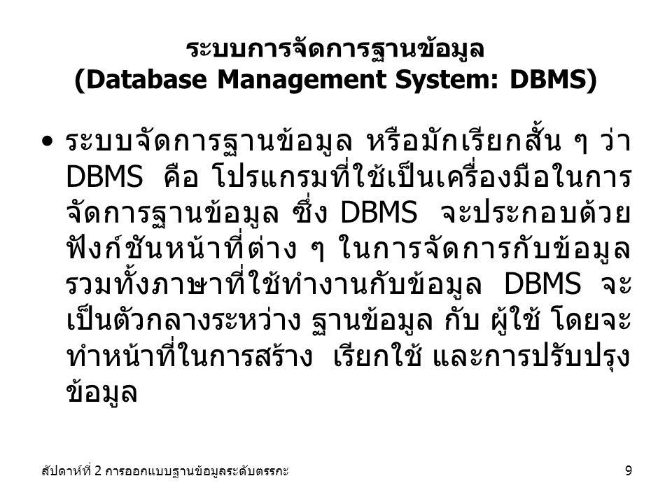 สัปดาห์ที่ 2 การออกแบบฐานข้อมูลระดับตรรกะ10 Database System DBMS Database containing centralized shared data Application #1 Application #2 Application #3