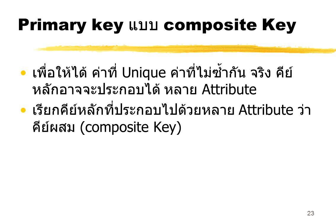 23 Primary key แบบ composite Key เพื่อให้ได้ ค่าที่ Unique ค่าที่ไม่ซ้ำกัน จริง คีย์ หลักอาจจะประกอบได้ หลาย Attribute เรียกคีย์หลักที่ประกอบไปด้วยหลา