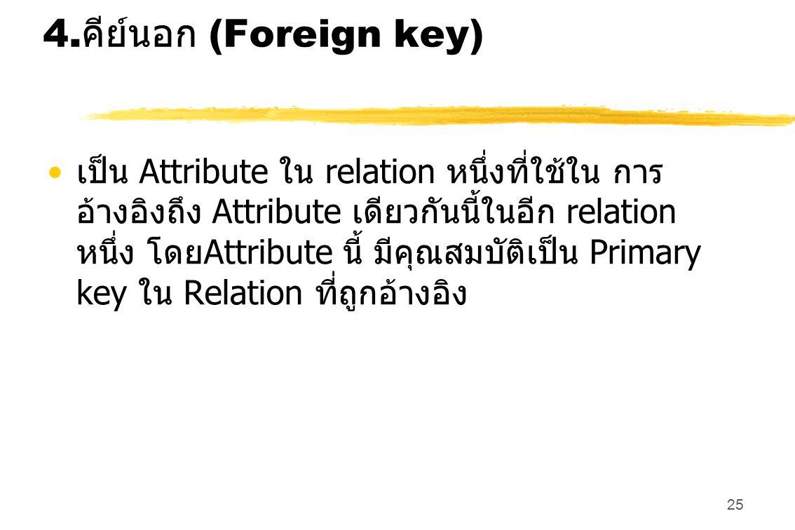 25 4. คีย์นอก (Foreign key) เป็น Attribute ใน relation หนึ่งที่ใช้ใน การ อ้างอิงถึง Attribute เดียวกันนี้ในอีก relation หนึ่ง โดย Attribute นี้ มีคุณส