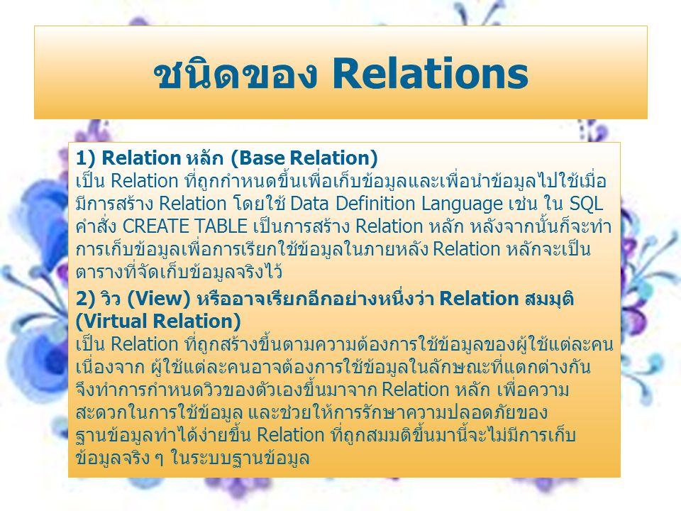 1) Relation หลัก (Base Relation) เป็น Relation ที่ถูกกำหนดขึ้นเพื่อเก็บข้อมูลและเพื่อนำข้อมูลไปใช้เมื่อ มีการสร้าง Relation โดยใช้ Data Definition Lan