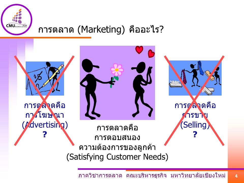 ภาควิชาการตลาด คณะบริหารธุรกิจ มหาวิทยาลัยเชียงใหม่ 4 การตลาด (Marketing) คืออะไร.