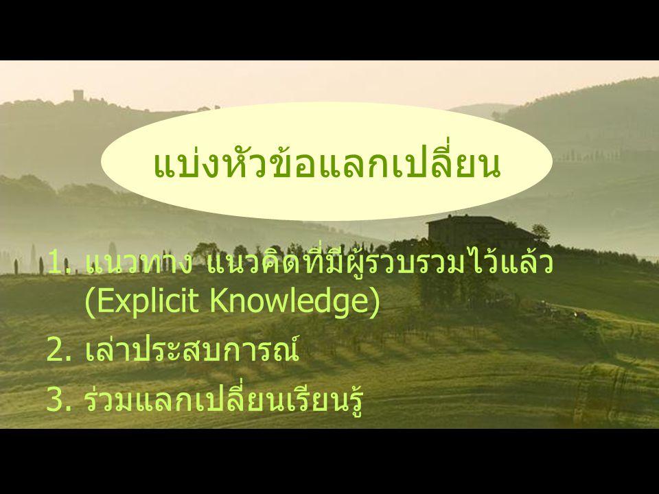 1.แนวทาง แนวคิดที่มีผู้รวบรวมไว้แล้ว (Explicit Knowledge) 2. เล่าประสบการณ์ 3. ร่วมแลกเปลี่ยนเรียนรู้ แบ่งหัวข้อแลกเปลี่ยน