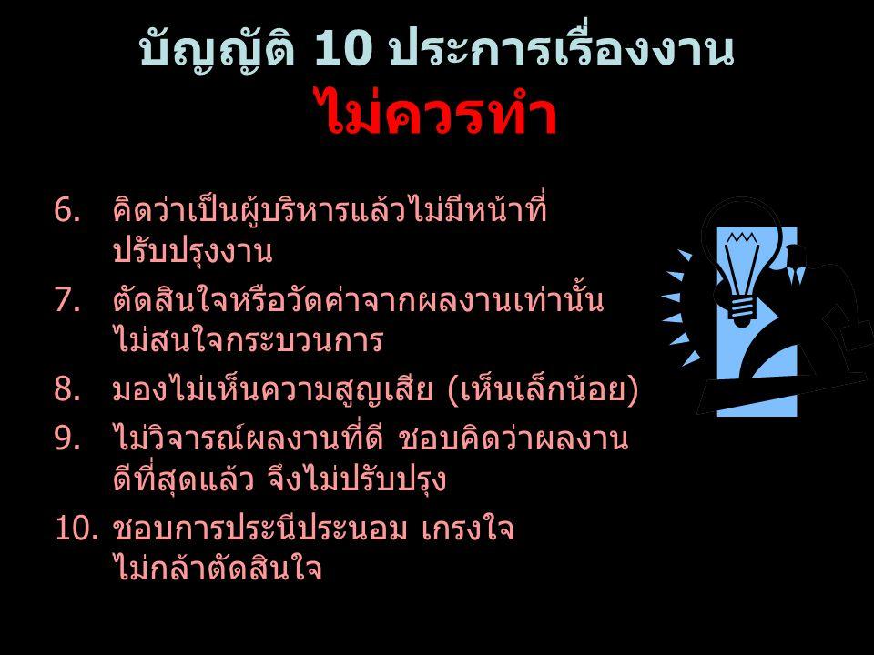 บัญญัติ 10 ประการเรื่องงาน ไม่ควรทำ 6.คิดว่าเป็นผู้บริหารแล้วไม่มีหน้าที่ ปรับปรุงงาน 7.ตัดสินใจหรือวัดค่าจากผลงานเท่านั้น ไม่สนใจกระบวนการ 8.มองไม่เห