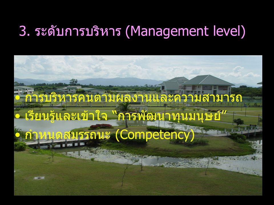 """การบริหารคนตามผลงานและความสามารถ เรียนรู้และเข้าใจ """"การพัฒนาทุนมนุษย์"""" กำหนดสมรรถนะ (Competency) 3. ระดับการบริหาร (Management level)"""