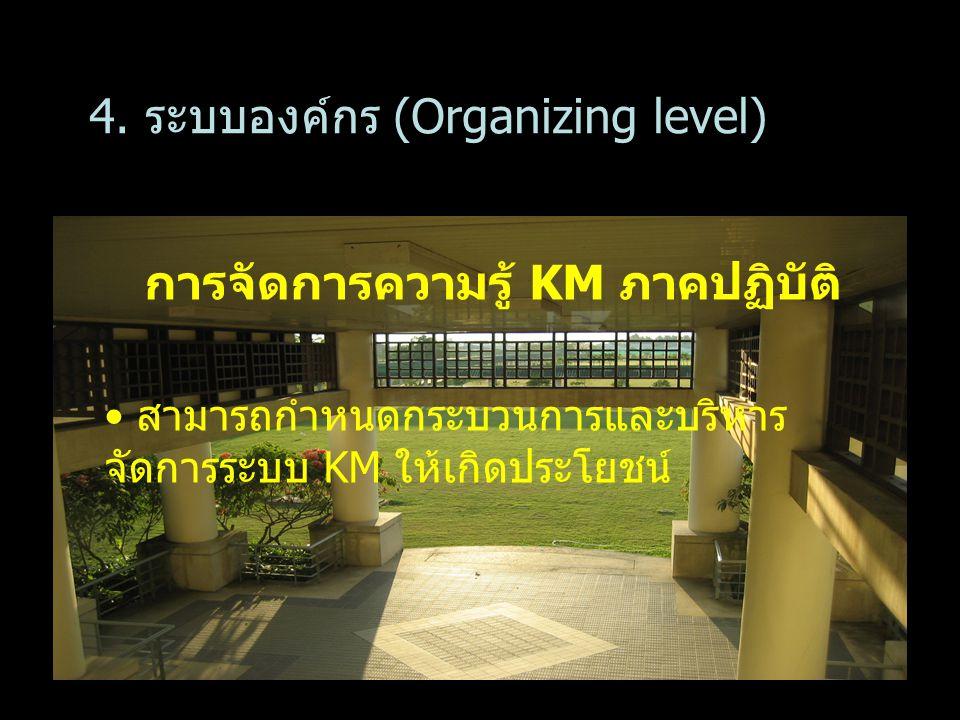 การจัดการความรู้ KM ภาคปฏิบัติ สามารถกำหนดกระบวนการและบริหาร จัดการระบบ KM ให้เกิดประโยชน์ 4. ระบบองค์กร (Organizing level)
