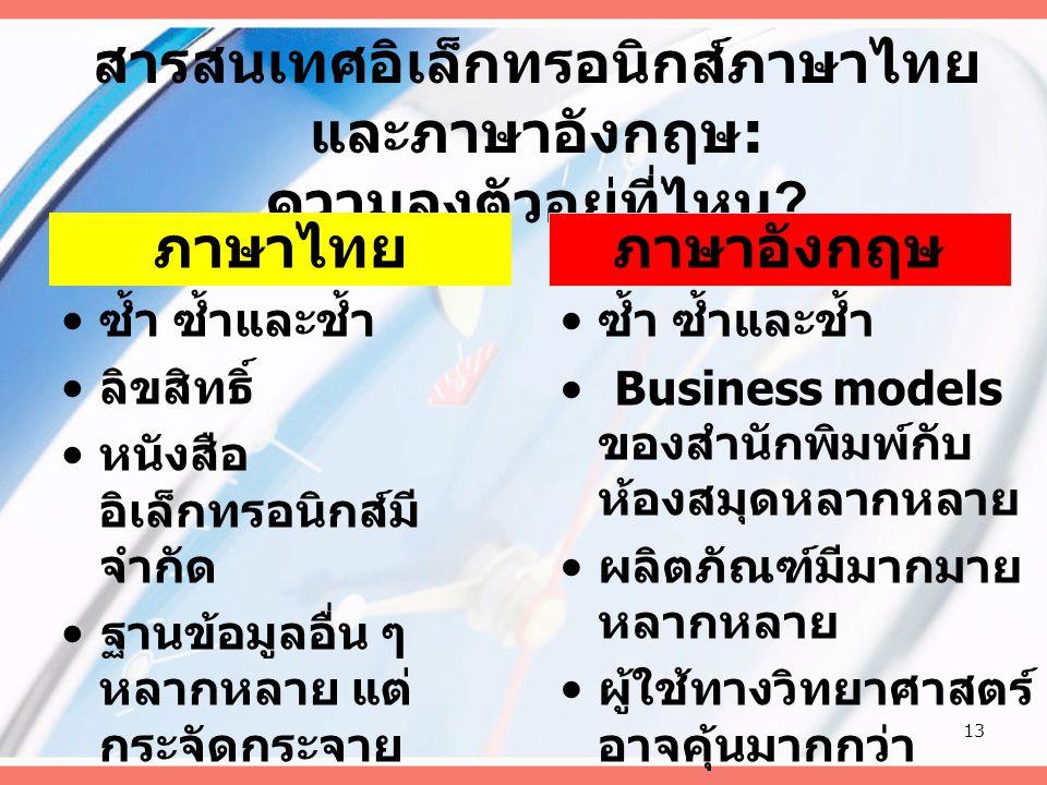 สารสนเทศอิเล็กทรอนิกส์ภาษาไทย และภาษาอังกฤษ : ความลงตัวอยู่ที่ไหน .