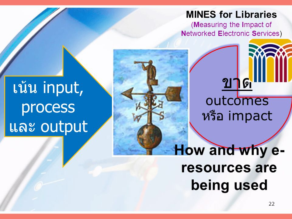 22 เน้น input, process และ output ขาด outcomes หรือ impact How and why e- resources are being used MINES for Libraries (Measuring the Impact of Networ