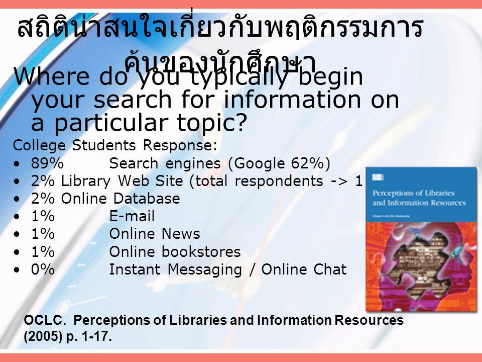 สถิติน่าสนใจเกี่ยวกับพฤติกรรมการ ค้นของนักศึกษา Where do you typically begin your search for information on a particular topic.
