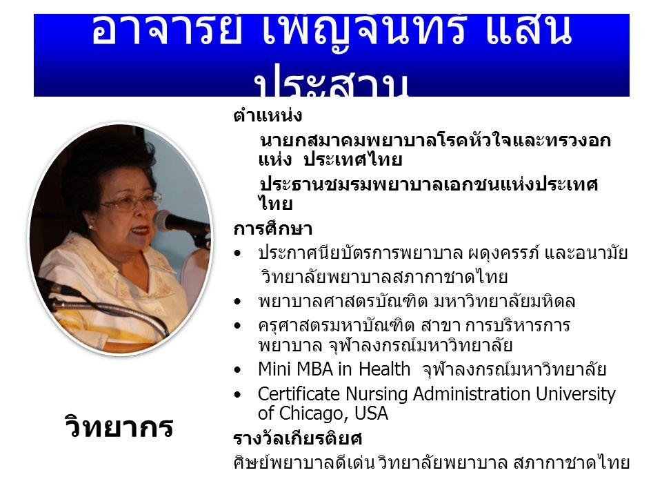 อาจารย์ เพ็ญจันทร์ แสน ประสาน ตำแหน่ง นายกสมาคมพยาบาลโรคหัวใจและทรวงอก แห่ง ประเทศไทย ประธานชมรมพยาบาลเอกชนแห่งประเทศ ไทย การศึกษา ประกาศนียบัตรการพยา