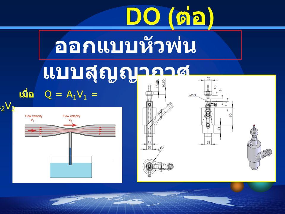 DO ( ต่อ ) ออกแบบหัวพ่น แบบสุญญากาศ เมื่อ Q = A 1 V 1 = A 2 V 2