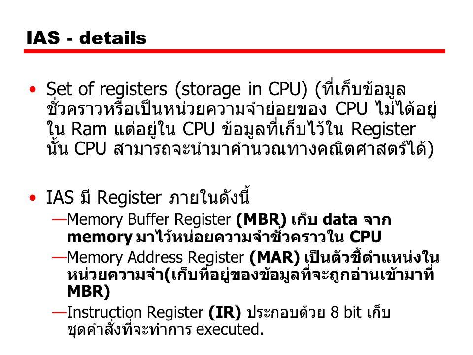 IAS - details Set of registers (storage in CPU) (ที่เก็บข้อมูล ชั่วคราวหรือเป็นหน่วยความจำย่อยของ CPU ไม่ได้อยู่ ใน Ram แต่อยู่ใน CPU ข้อมูลที่เก็บไว้