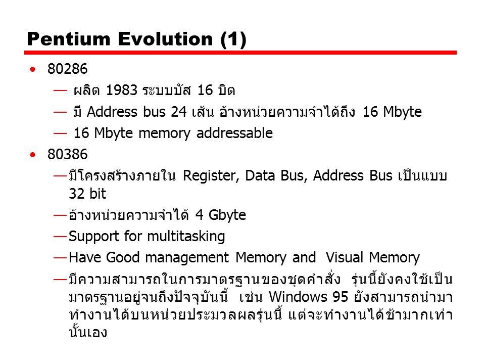 Pentium Evolution (1) 80286 — ผลิต 1983 ระบบบัส 16 บิต — มี Address bus 24 เส้น อ้างหน่วยความจำได้ถึง 16 Mbyte — 16 Mbyte memory addressable 80386 —มี