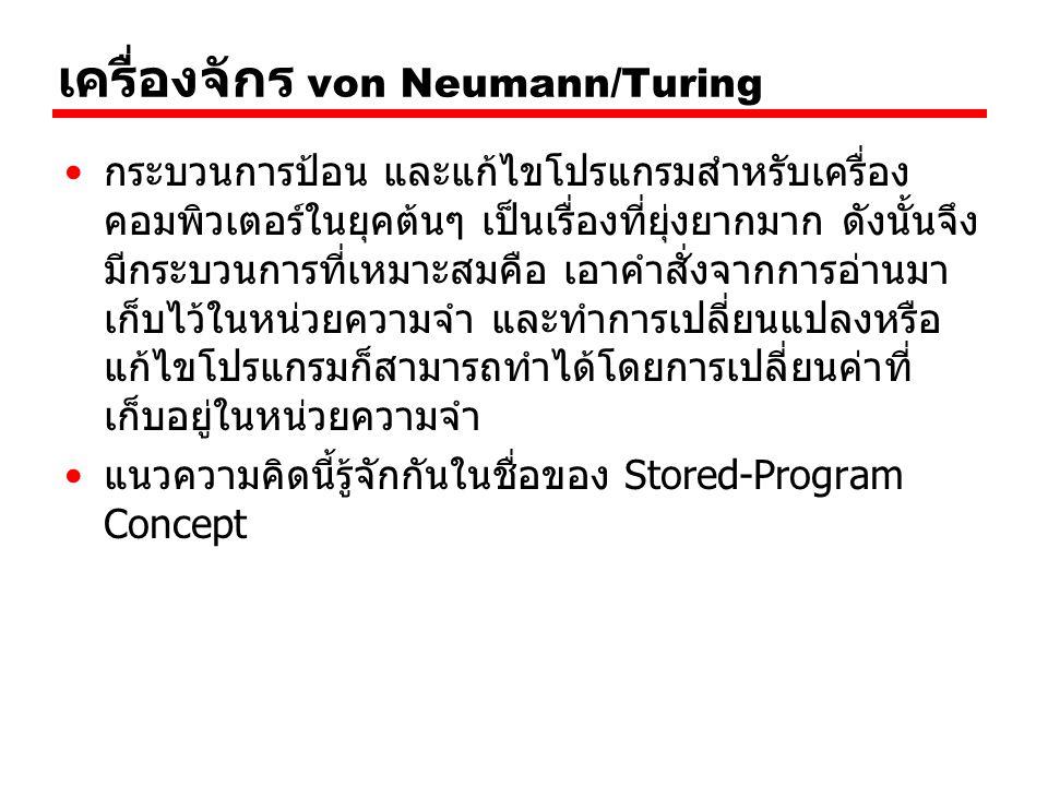 เครื่องจักร von Neumann/Turing กระบวนการป้อน และแก้ไขโปรแกรมสำหรับเครื่อง คอมพิวเตอร์ในยุคต้นๆ เป็นเรื่องที่ยุ่งยากมาก ดังนั้นจึง มีกระบวนการที่เหมาะส